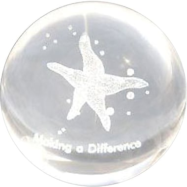 Baudville Glass Sphere Paperweight with 3D Starfish Graphic, in.Making a Differencein.