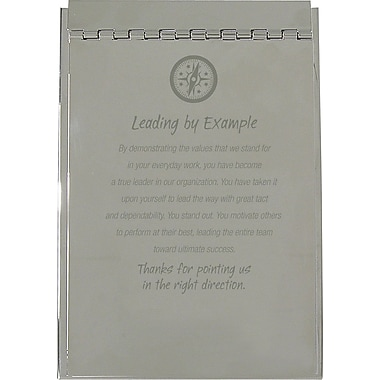 Baudville Silver Flip Memo Pad Holder, in.Leading by Examplein.