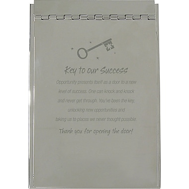 Baudville Silver Flip Memo Pad Holder, in.Key to Successin.
