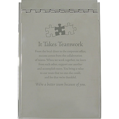 Baudville Silver Flip Memo Pad Holder, in.It Takes Teamworkin.