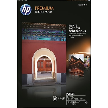 HP Premium Photo Paper, 13in. x 19in., Glossy, 25/Pack
