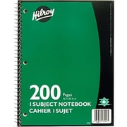 "Hilroy 1-Subject Notebook, 10-1/2"" x 8"", Assorted, 200 Pages"