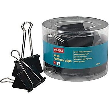 Staples® - Pinces relieuses, 2 po, grandes, noires, pot/12