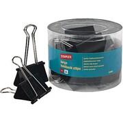 "Staples® Binder Clips, Large 2"", Black, 12/Tub"