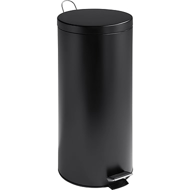 Honey Can Do 7.9 gal. Stainless Steel Step Trash Can, Matte Black