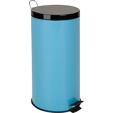 Honey Can Do Metal Step Trash Can, Blue, 7.9 gal.