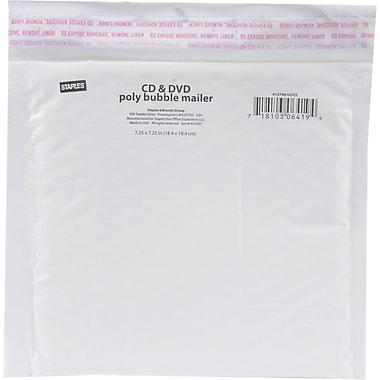 Staples® - Enveloppe d'expédition en poly pour CD/DVD, blanche