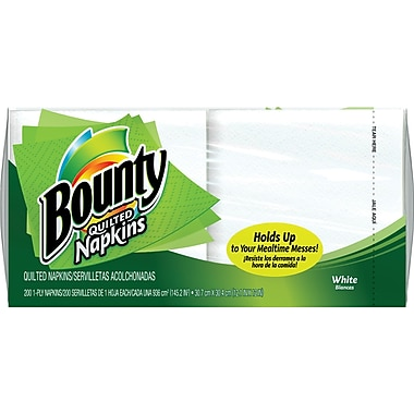 Bounty® Quilted Napkins, 1-Ply, 200 Napkins/Pack