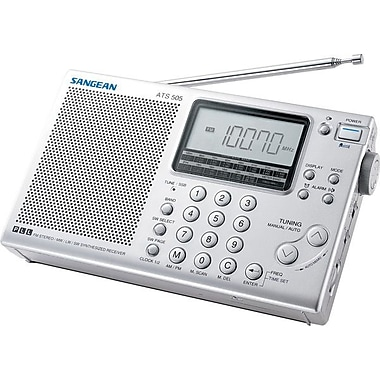 Sangean® Silver World Band Radio w/ FM-Stereo/MW/LW/SW PLL Synthesized Receiver