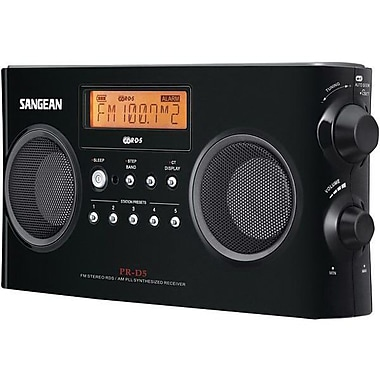 Sangean® PRD5BK Black, White Portable Radio w/ FM-Stereo RDS (RBDS)/AM Digital Tuning