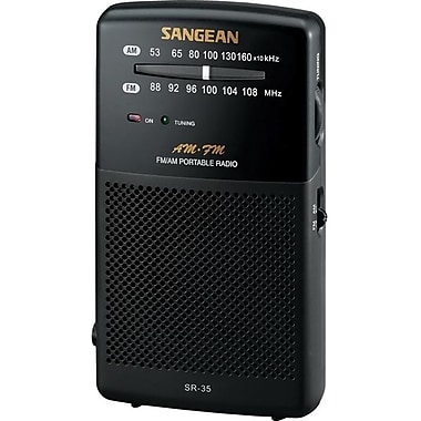 Sangean® Black Hand-Held Pocket Radio w/ Built-In Speaker, FM/AM