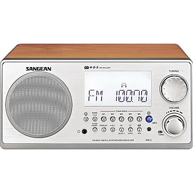 Sangean® Black, White, Walnut Table Top Radio w/ FM-RDS (RBDS)/AM Wooden Cabinet