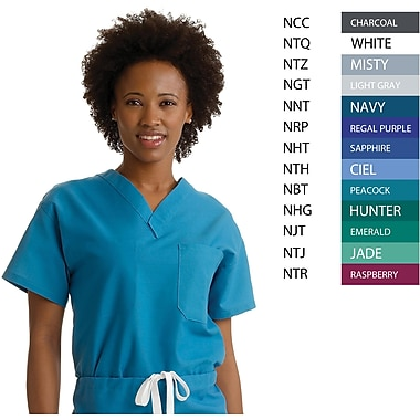 Angelstat® Unisex Two-pocket A-Stat Rev V-neck Scrub Tops, Purple, ANG-CC, Small