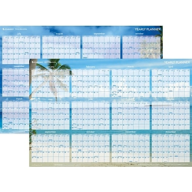 2014 AT-A-GLANCE® Tropical Escape Horizontal Erasable Wall Planner, 36in. x 24in.