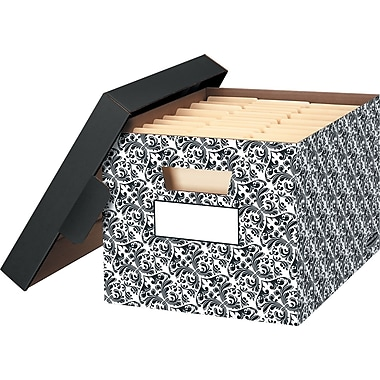 Bankers Box Stor/File™ Storage Boxes, Black Paisley
