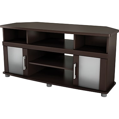 South Shore City Lights Corner TV Stand, Chocolate Maple