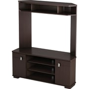 South Shore Turin Corner TV Stand and Hutch, Chocolate Maple