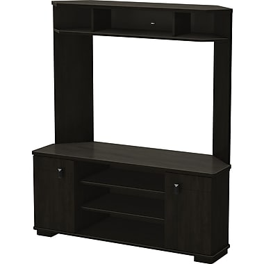 South Shore Turin Corner TV Stand and Hutch, Ebony
