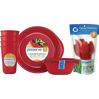 Preserve Everyday Tabeware & Cutlery Set, Pepper Red, 36-Piece Set