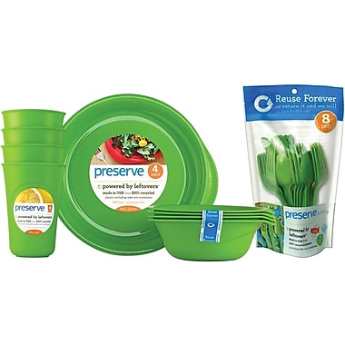 Preserve Everyday Tabeware & Cutlery Set, Apple Green, 36-Piece Set