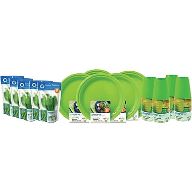 Preserve On The Go Tableware Set, Apple Green, 200-Piece Set