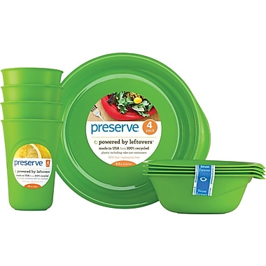 Preserve Everyday Tableware Set, Apple Green, 12-Piece Set