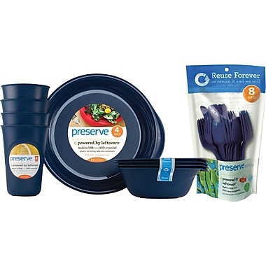 Preserve Everyday Tabeware & Cutlery Set, Midnight Blue, 36-Piece Set