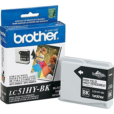Brother LC51HY Black Ink Cartridge, (LC51HYBK) High Yield