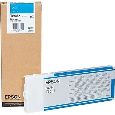 Epson T606 220ml Cyan UltraChrome Ink Cartridge (T606200), High Yield
