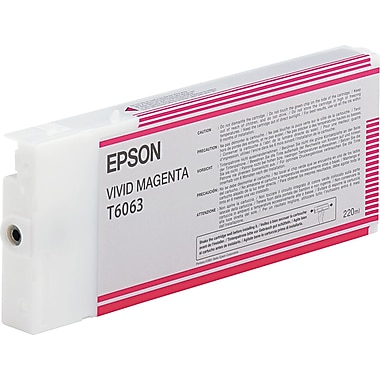 Epson T606 200ml Vivid Magenta UltraChrome Ink Cartridge (T606300), High Yield