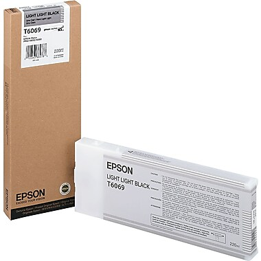 Epson T606 220ml Light Light Black UltraChrome Ink Cartridge (T606900), High Yield