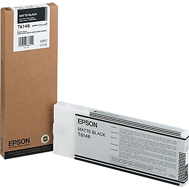 Epson T614 220ml Matte Black UltraChrome Ink Cartridge (T614800), High Yield