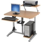 Balt® Ergo Eazy Sit/Stand Workstation, Teak/Silver