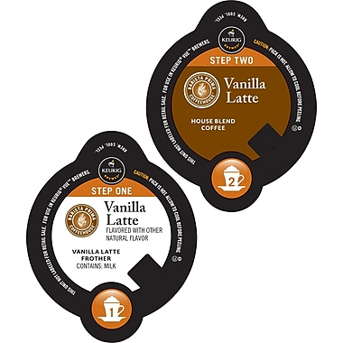 Keurig Vue Pack Barista Prima Coffeehouse Vanilla Latte, 8 Frother + 8 Coffee/Pack