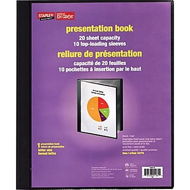 Staples® Multipocket Poly Presentation Folders, 10-pocket, Black