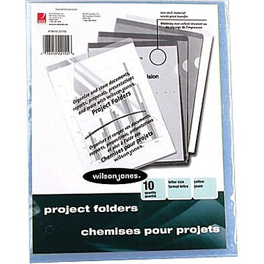 Wilson Jones® Poly Project Folders, Letter, Blue, 10/Pack
