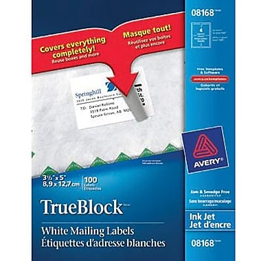 Avery 8168 white inkjet shipping labels with trueblock 5 for Staples white mailing labels template