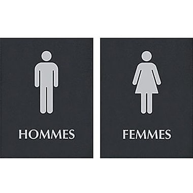 Headline Sign® Century Series ADA Signs, Men/Women Combo Pack, French (Hommes/Femmes)