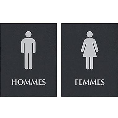 Headline Sign® Century Series ADA Signs, Men/Women Combo Pack, French (Hommes/Femmes)