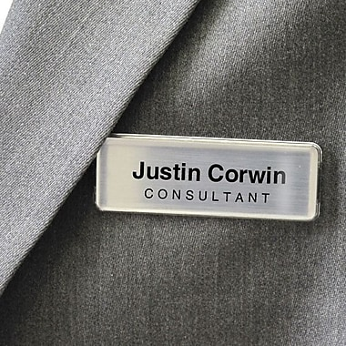 YouWho™ Name Badge Kit, Silver, Inkjet, 2-Unit