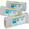 HP 91 Black Matte Ink Cartridge (C9480A), 3/Pack