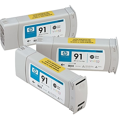 HP 91 Black Ink Cartridge (C9481A), 3/Pack