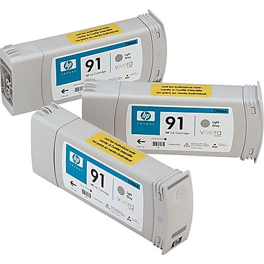 HP 91 Light Gray Ink Cartridges (C9482A), 775ml, 3/Pack