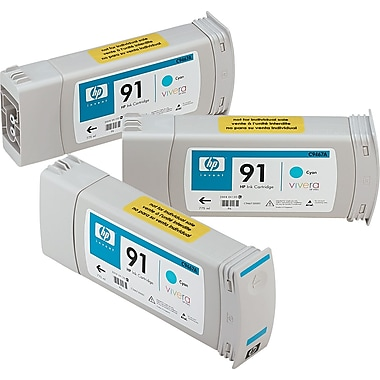 HP 91 Cyan Ink Cartridge (C9483A), 3/Pack