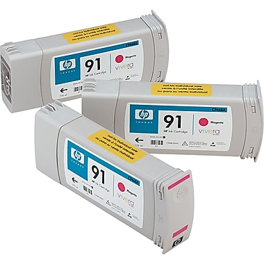 HP 91 Magenta Ink Cartridge (C9484A), 3/Pack