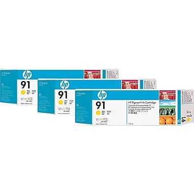 HP 91 Yellow Ink Cartridge (C9485A), 3/Pack