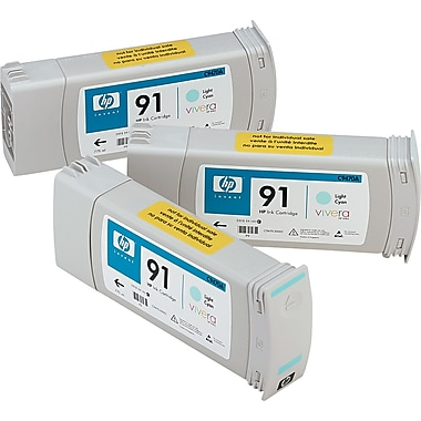 HP 91 Light Cyan Ink Cartridge, 3/Pack (C9486A)