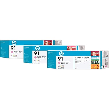 HP 91 Light Magenta Ink Cartridges (C9487A), 775ml, 3/Pack