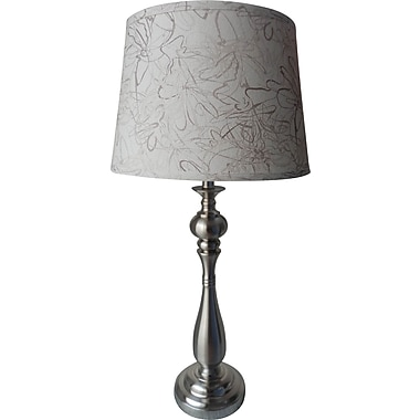 Fangio Metal Table Lamp in Brushed Steel w/ Subtle Abstract Printed Cream Drum Shade