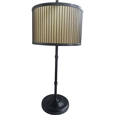 Fangio Black Finish Table Lamp w/ Decorative Wood & Paper Shade
